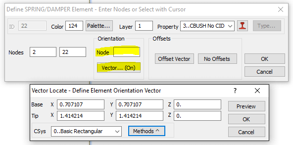 Nastran CBUSH Element Orientation Node or Vector
